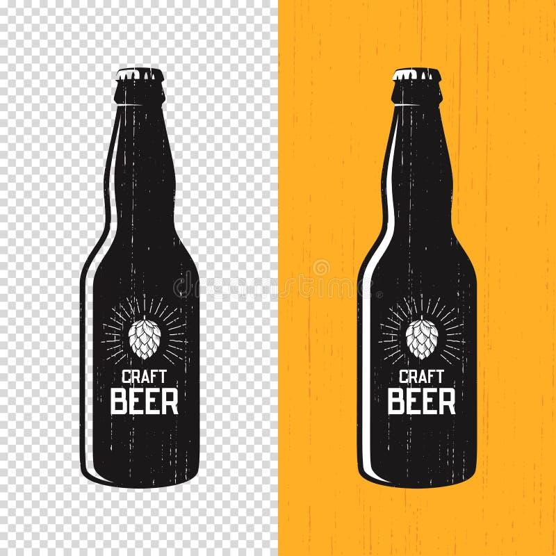 Diseño texturizado de la etiqueta de la botella de cerveza del arte Logotipo del vector, emblema, ty ilustración del vector