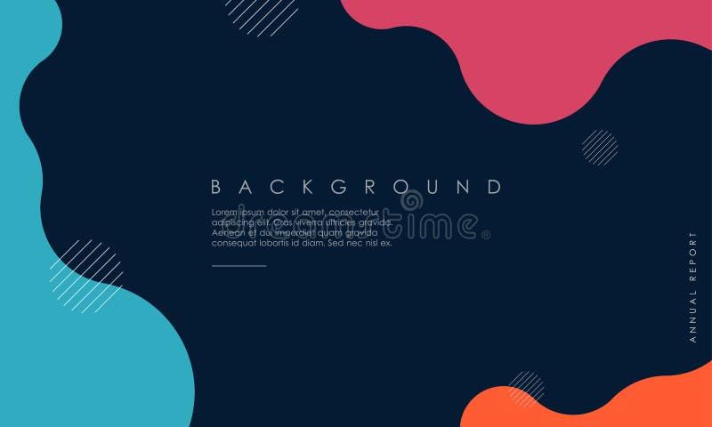 Diseño texturizado dinámico del fondo en 3D el estilo con azul, rosa, color anaranjado ilustración del vector
