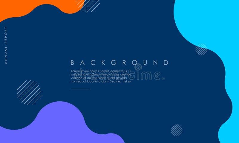 Diseño texturizado dinámico del fondo en el estilo 3D con azul, naranja, color púrpura stock de ilustración