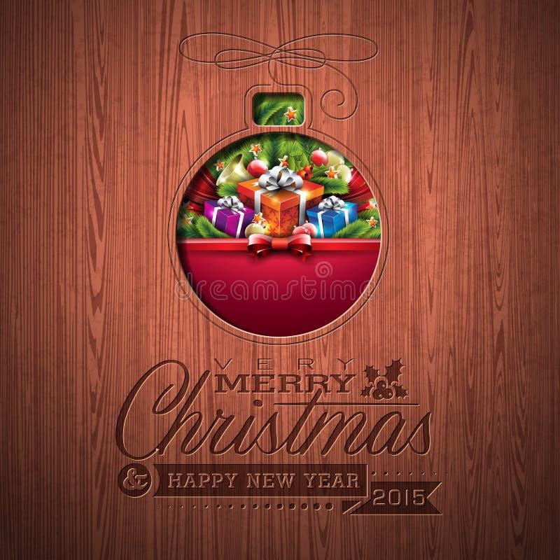 Diseño tipográfico de la Feliz Navidad grabada y de la Feliz Año Nuevo con los elementos del día de fiesta en el fondo de madera  stock de ilustración