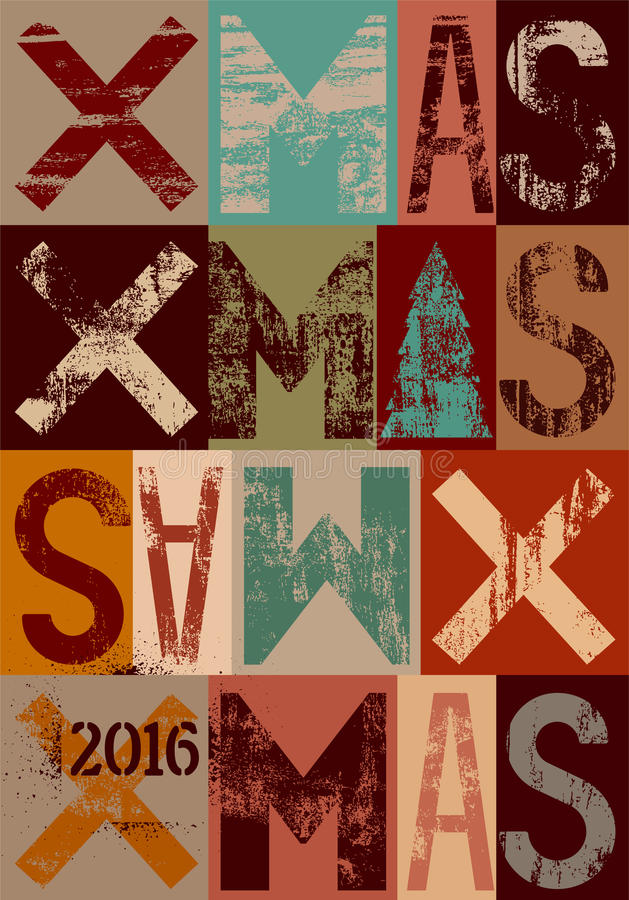 Diseño tipográfico de la tarjeta de Navidad o del cartel del estilo del vintage Ejemplo retro del vector del grunge stock de ilustración