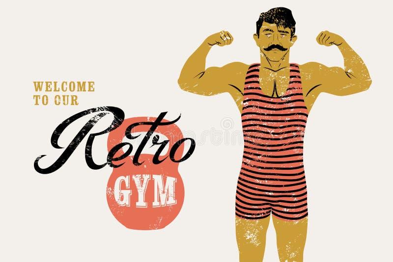 Diseño tipográfico del cartel del grunge del vintage del gimnasio retro con el hombre fuerte Ilustración retra del vector ilustración del vector