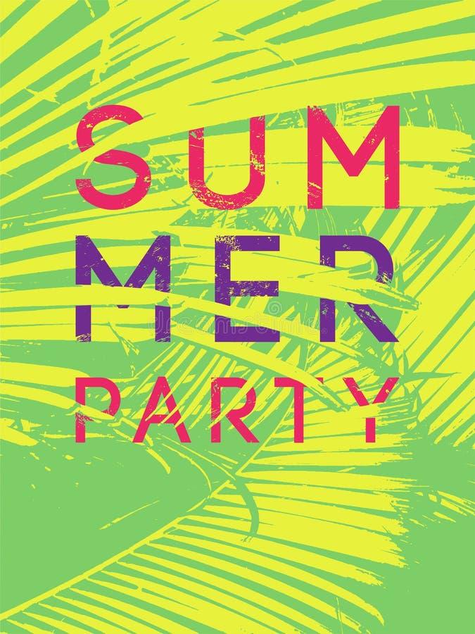 Diseño tipográfico del cartel del vintage del grunge del partido tropical del verano con las hojas de palma Ilustración retra del libre illustration