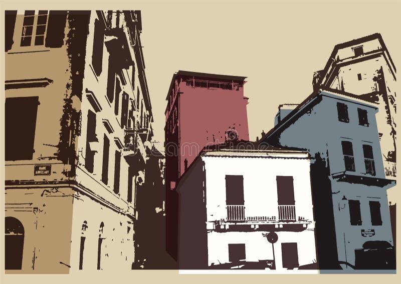 Diseño tipográfico del cartel del vintage de la ciudad vieja Viejo fondo rasguñado de la textura de la casa grunge Ilustración re ilustración del vector