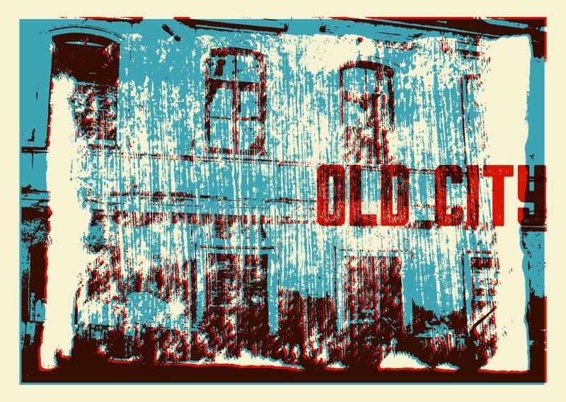 Diseño tipográfico del cartel del vintage de la ciudad vieja Viejo fondo rasguñado de la textura de la casa grunge Ilustración re stock de ilustración