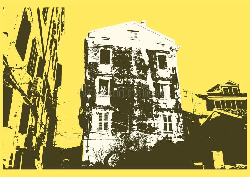 Diseño tipográfico del cartel del vintage de la ciudad vieja Viejo fondo rasguñado de la textura de la casa grunge Ilustración re libre illustration