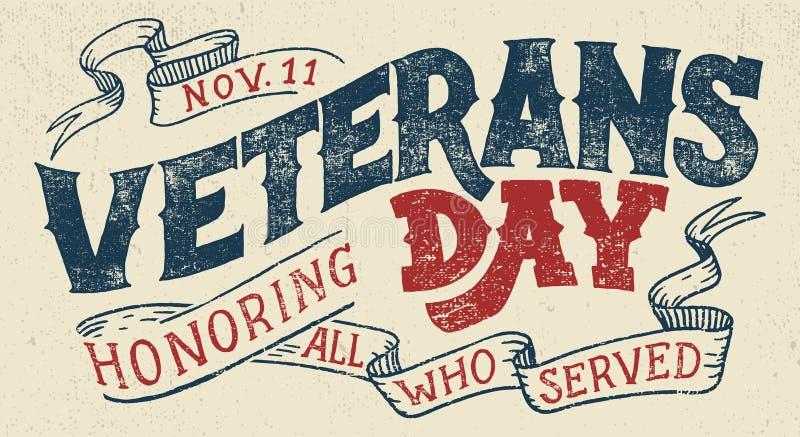 Diseño tipográfico del día de fiesta del día de veteranos ilustración del vector