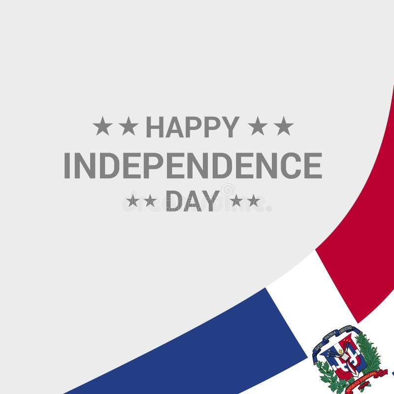 Diseño tipográfico del Día de la Independencia de la República Dominicana con la bandera stock de ilustración
