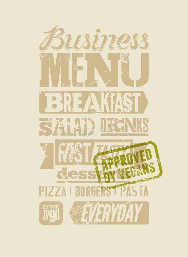 Diseño tipográfico del grunge del menú del restaurante Cartel del almuerzo de negocios del vintage Aprobado por los veganos Ilust stock de ilustración