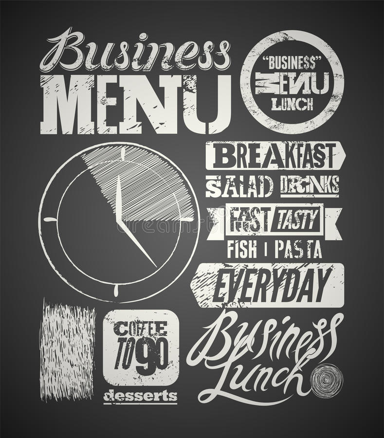 Diseño tipográfico del menú del restaurante en la pizarra Cartel del almuerzo de negocios del vintage Ilustración del vector libre illustration