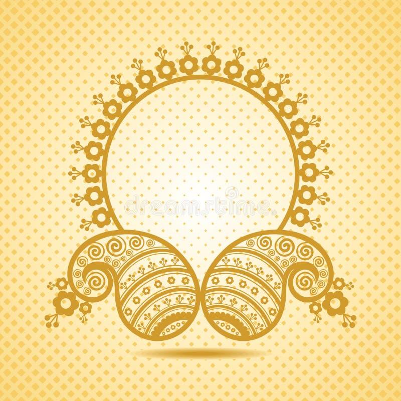 Diseño tradicional de Paisley del asiático con el copia-espacio stock de ilustración