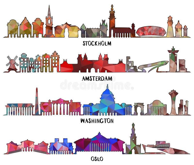 Diseño triangular Estocolmo, Amsterdam, Washington, Oslo stock de ilustración