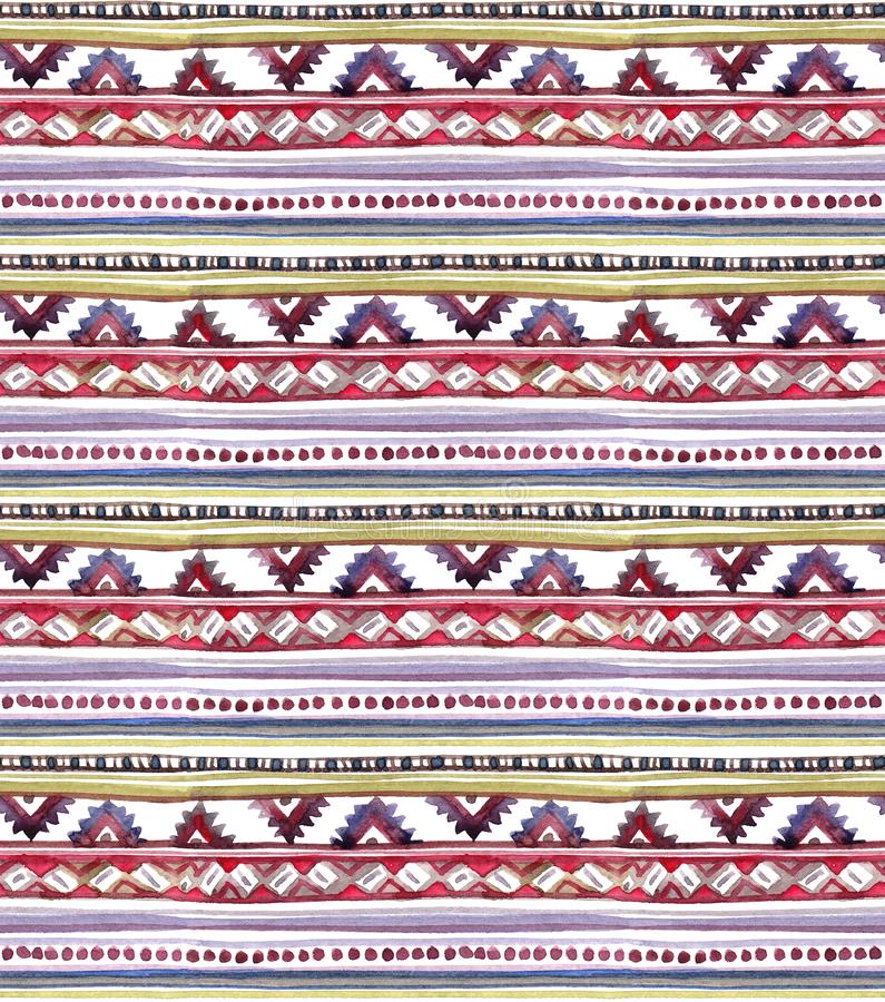 Diseño tribal americano Fondo inconsútil - modelo tribal Acuarela pintada a mano libre illustration