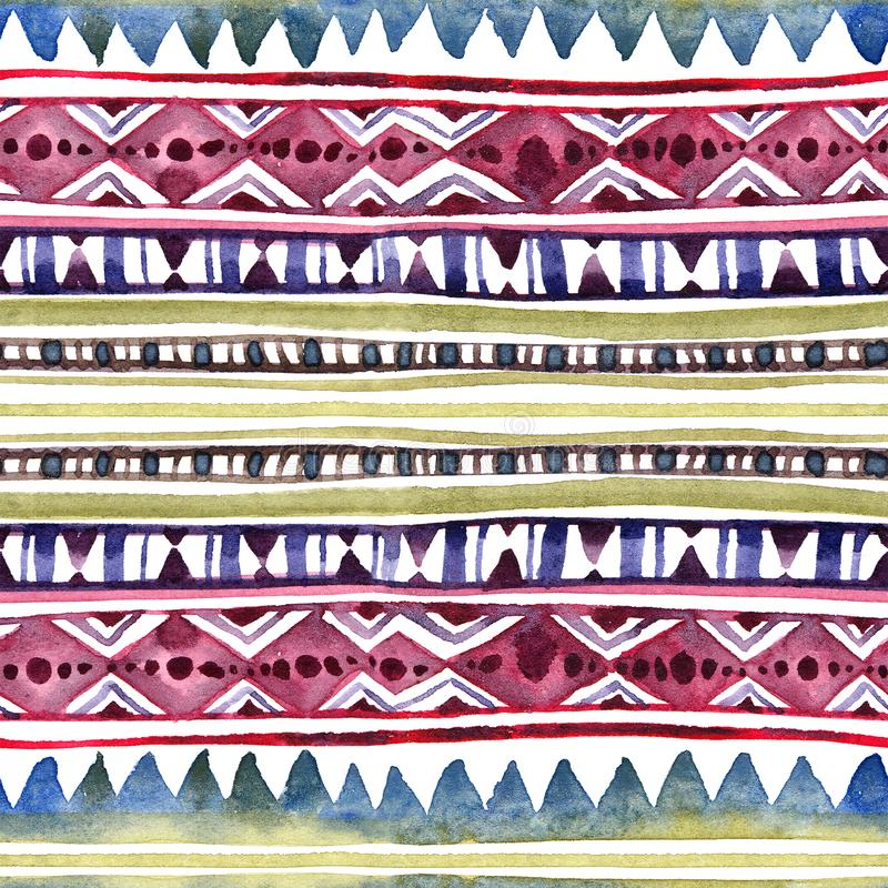 Diseño tribal americano Fondo inconsútil - modelo tribal Acuarela pintada a mano fotos de archivo