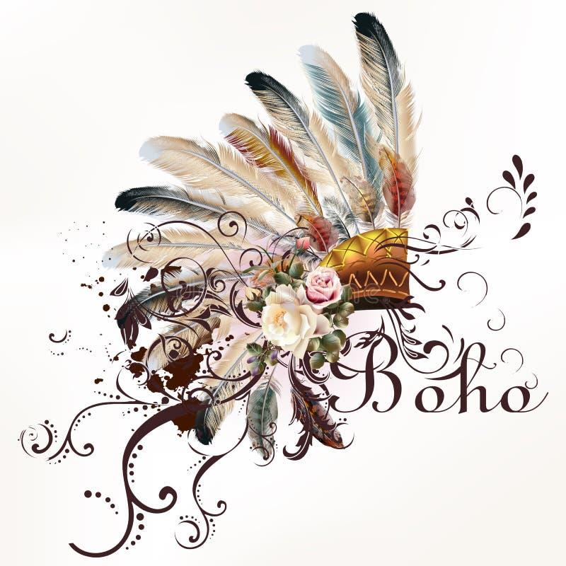 Diseño tribal del vector en estilo del boho Tocado con las plumas ilustración del vector