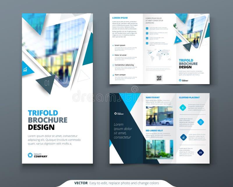 Diseño triple del folleto del negocio Plantilla del negocio corporativo del verde azul para el aviador triple Disposición con el  libre illustration