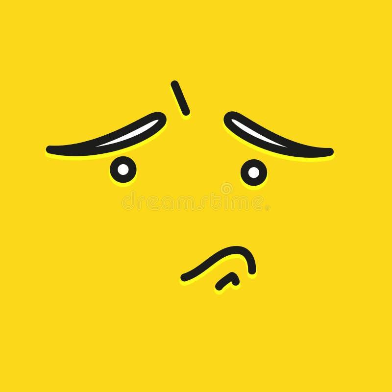 Diseño triste de la plantilla del icono de la sonrisa Logotipo triste del vector del emoticon en fondo amarillo Línea estilo de l stock de ilustración
