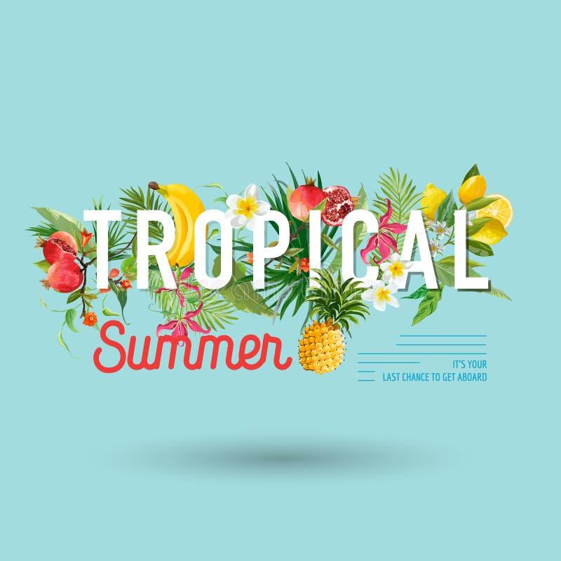 Diseño tropical con las frutas exóticas Composición del verano con la piña, el plátano y las hojas de palma para la tela, camiset ilustración del vector