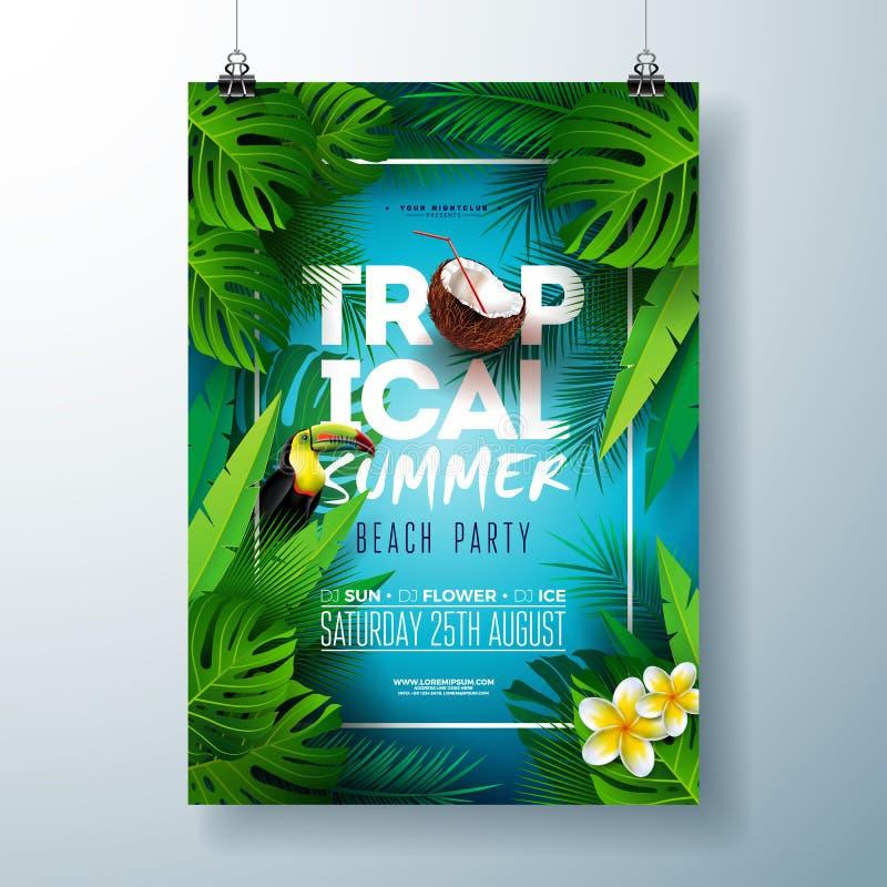Diseño tropical del aviador del partido de la playa del verano con la flor, el coco, las hojas de palma y el pájaro del tucán en  libre illustration