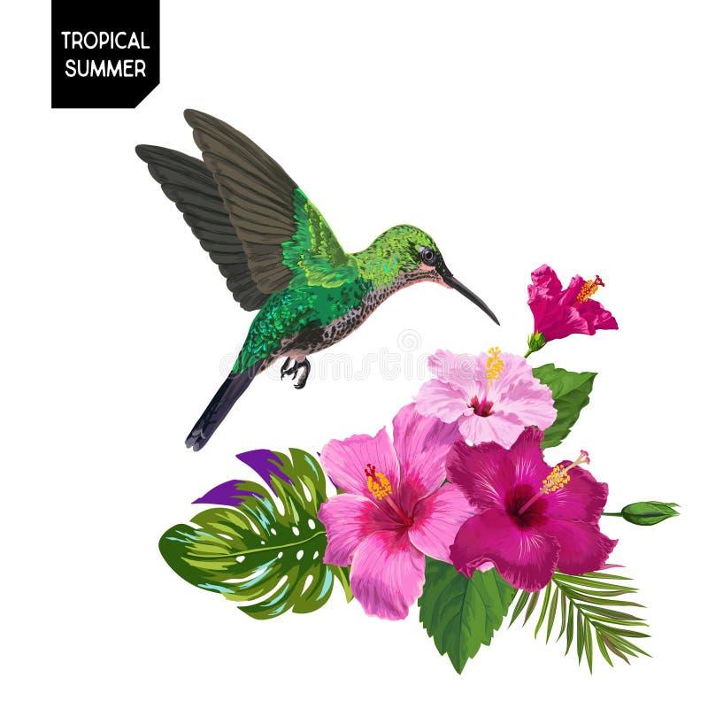 Diseño tropical del verano con el colibrí y las flores exóticas Fondo floral con el  del pájaro tropical, de HibisÑ nosotros y l ilustración del vector