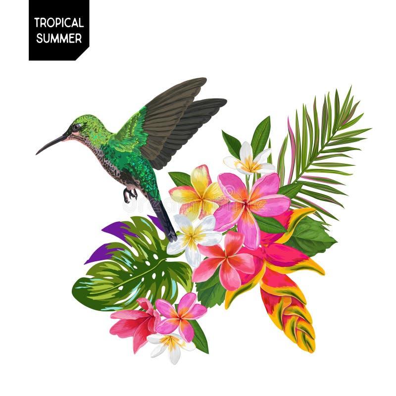 Diseño tropical del verano con el colibrí y las flores exóticas Fondo floral con el pájaro tropical, el Plumeria y hojas de palma libre illustration