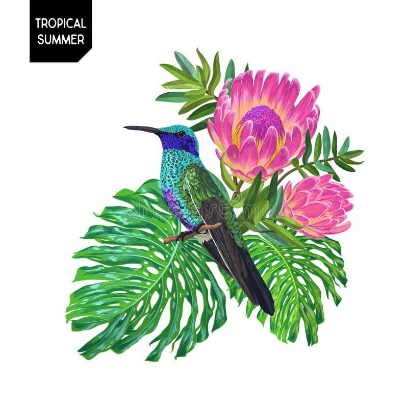 Diseño tropical del verano con el colibrí y las flores Fondo floral con el pájaro tropical, el Protea y las hojas de palma de Mon ilustración del vector