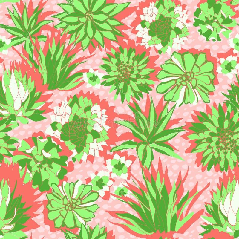 Diseño tropical moderno colorido de un jardín suculento enorme en coral y verdes brillantes en texturizado suelo-como fondo libre illustration