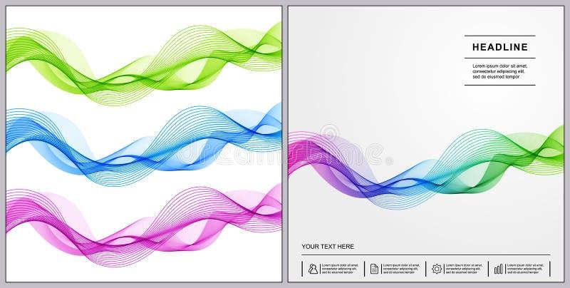 Diseño universal de las cubiertas con azul, verde, rosado, onda Li de la pendiente ilustración del vector