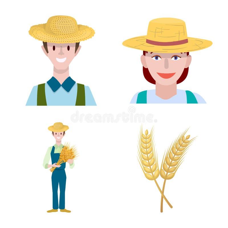 Diseño vectorial de la granja y símbolo arable. Conjunto de iconos de la granja y del vector de trigo para la población libre illustration