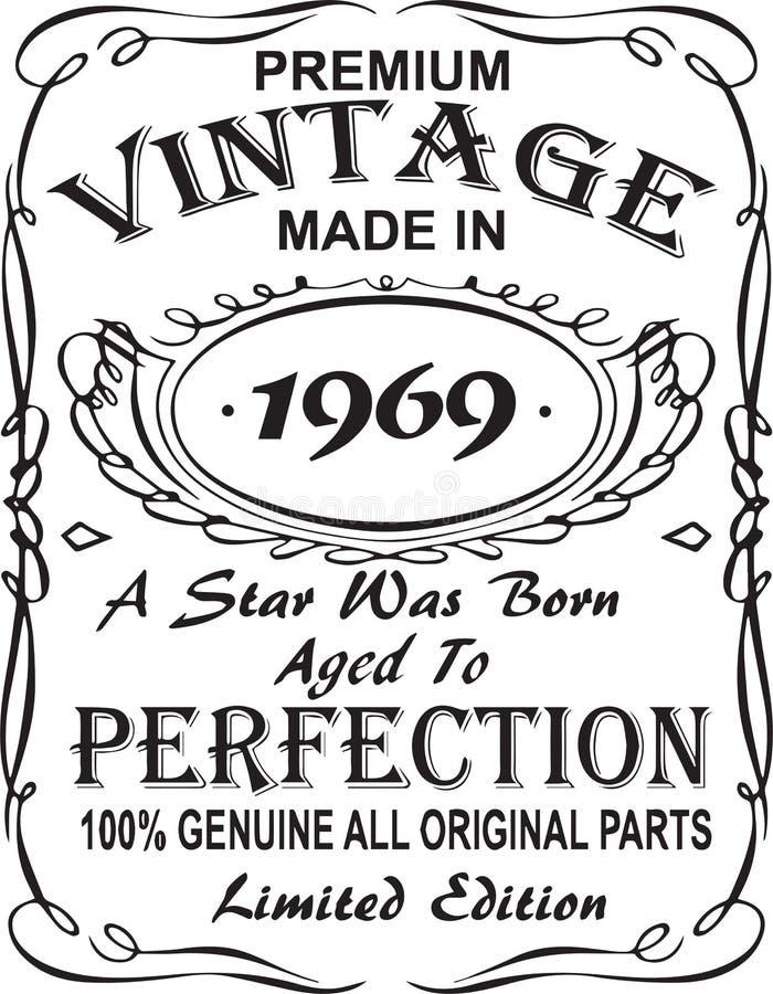 Diseño vectorial de la impresión de la camiseta El vintage superior hizo en 1969 una estrella fue llevado envejeció a la perfecci stock de ilustración