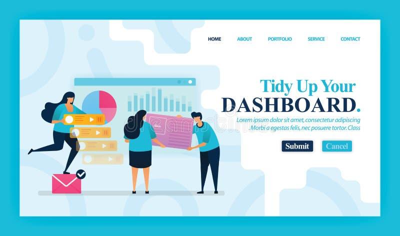 Diseño vectorial de página de inicio de Tidy Up Your Dashboard Fácil de editar y personalizar Concepto moderno de diseño plano de stock de ilustración