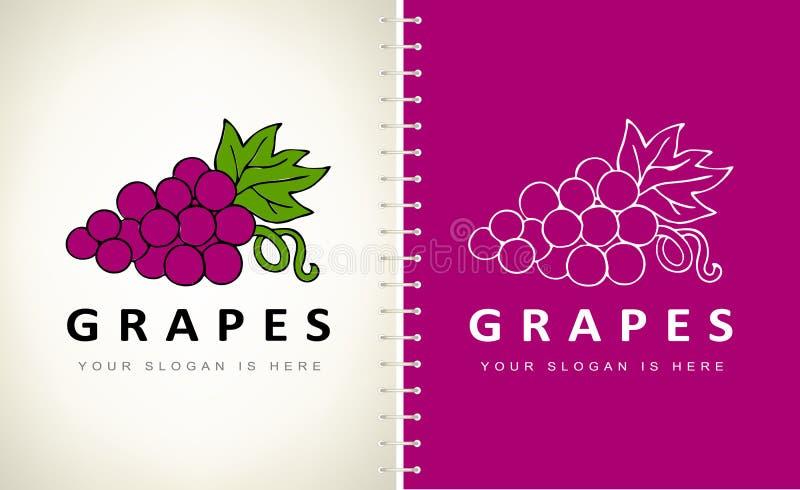 Diseño vectorial del logotipo de las uvas imagen de archivo