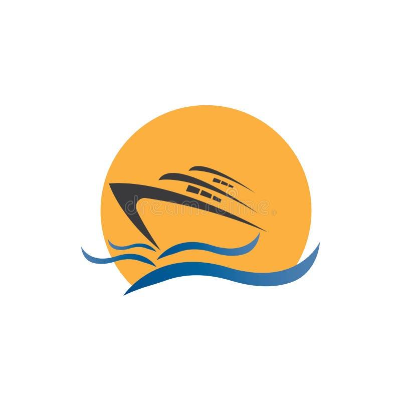Diseño vectorial del logotipo Yatch en la ilustración marítima stock de ilustración