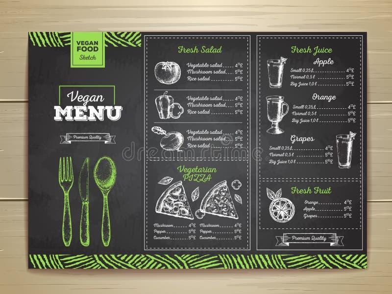 Diseño vegetariano del menú de la comida del dibujo de tiza ilustración del vector