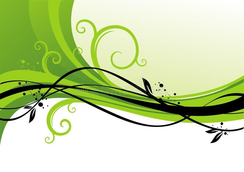 Diseño verde con los enrollamientos ilustración del vector