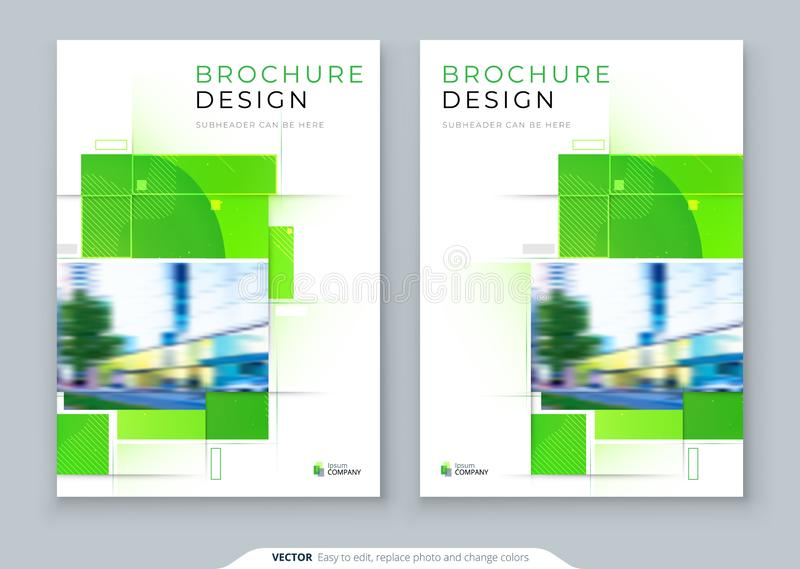 Diseño verde de la disposición de la plantilla de la cubierta del folleto Informe anual del negocio corporativo, cat?logo, revist stock de ilustración