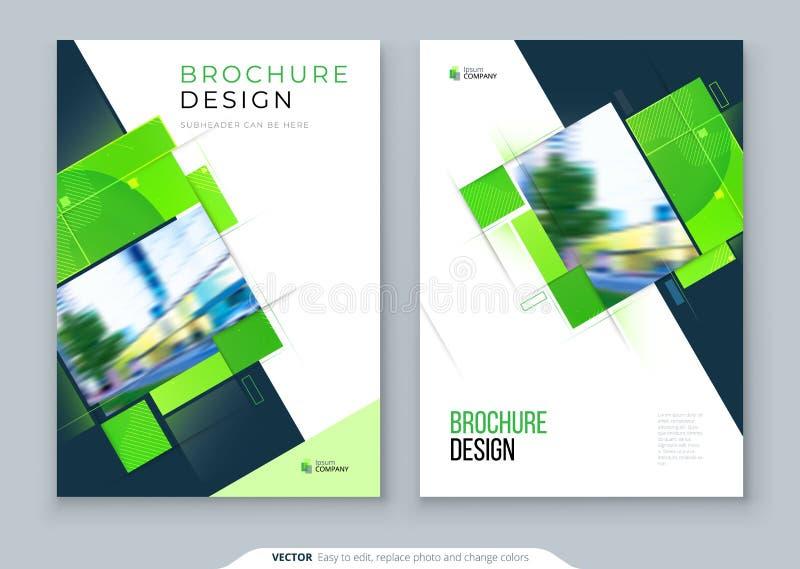 Diseño verde de la disposición de la plantilla de la cubierta del folleto Informe anual del negocio corporativo, cat?logo, revist ilustración del vector