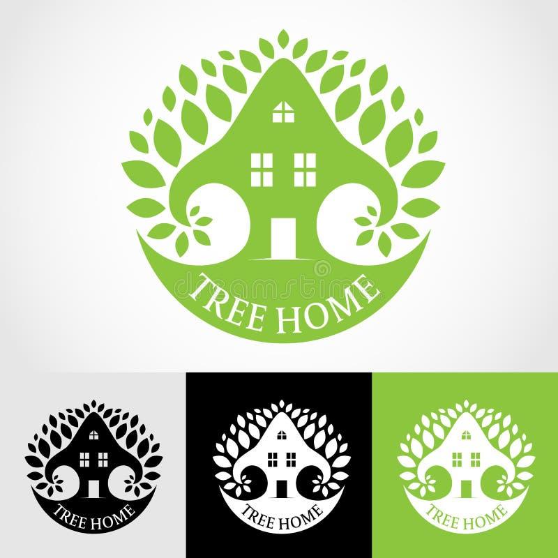 Diseño verde del arte del vector del logotipo del hogar del árbol stock de ilustración