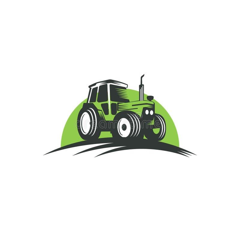 Diseño verde del logotipo del tractor de granja fotos de archivo libres de regalías