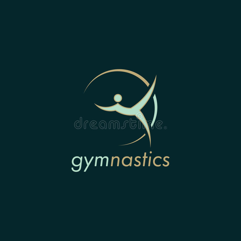 Diseño verde del logotipo del vector de la gimnasia con el fondo oscuro stock de ilustración