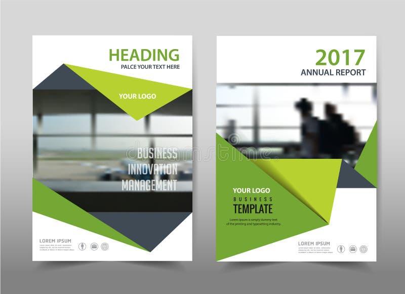 Diseño verde en fondo Disposición de la plantilla del folleto, stock de ilustración