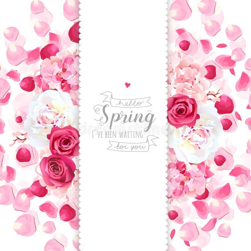 Diseño vertical de la peonía, de la hortensia, color de rosa y del vuelo de los pétalos del vector libre illustration