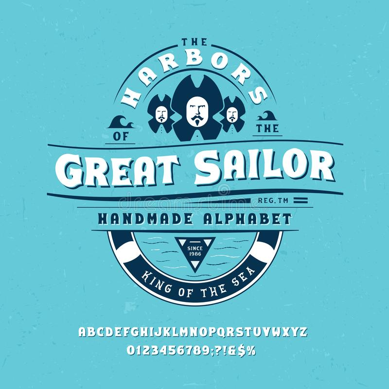 Diseño vintage de Font Great Sailor libre illustration