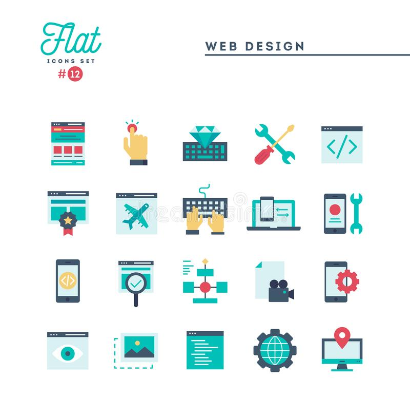 Diseño web, codificación, desarrollo responsivo, del app y más, i plano stock de ilustración