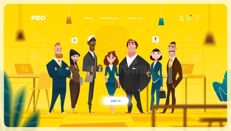 Diseño web de la página principal con los personajes de dibujos animados del negocio libre illustration