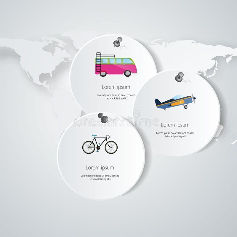 Diseño web del infographics del viaje Plantilla de papel moderna Ilustración del vector stock de ilustración