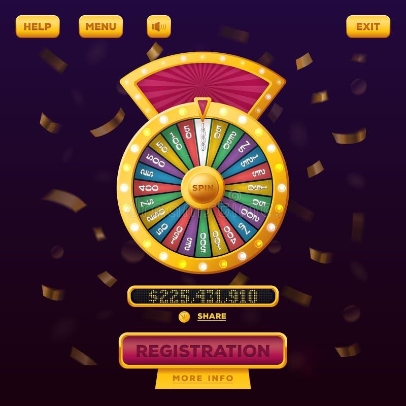 Diseño web del menú del casino con la rueda de la fortuna stock de ilustración