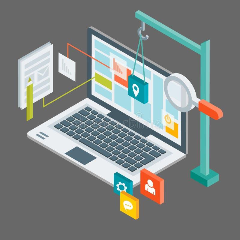 Diseño web isométrico stock de ilustración