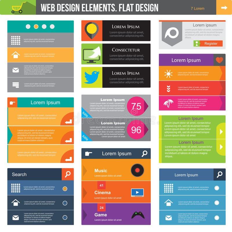 Diseño web plano stock de ilustración