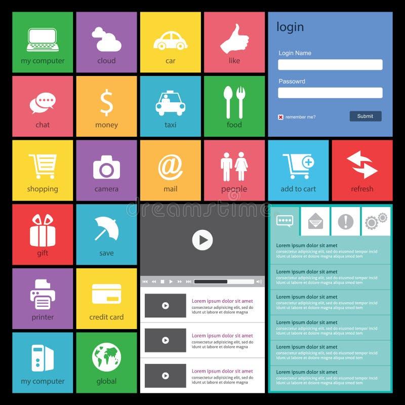 Diseño web plano, elementos, botones, iconos. Templat stock de ilustración